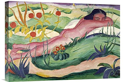 "Global Gallery GCS-265157-22-142 ""Franz Marc Nude Lying In The Flowers"" Gallery Wrap Giclee on Canvas Print Wall Art"