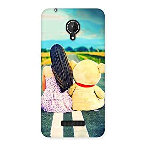 Cute Teddy Girl Cute Multicolor Back Case Cover for Micromax Canvas Spark Q380