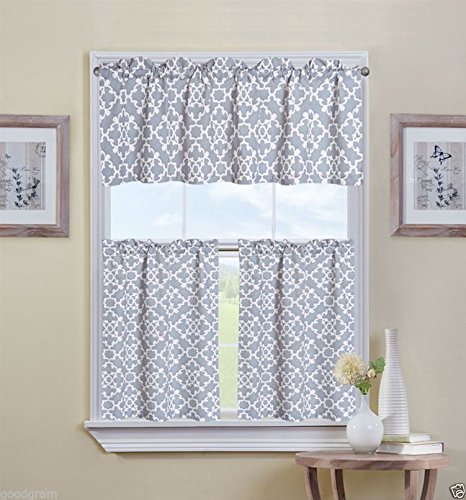 ultra luxurious grey shabby 3 kitchen curtain tier