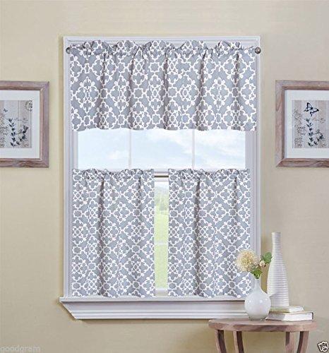 Ultra Luxurious Grey Shabby 3 Piece Kitchen Curtain Tier