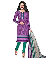 Khazanakart New Attractive Purple Colour Cotton Top,Bottom and Dupatta Fabric Bollywood Style Designer Salwar Suit Dress Material For Wome.