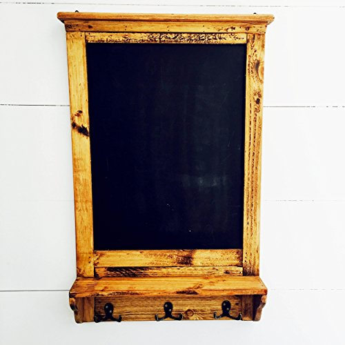 The Stockbridge Chalkboard with Shelf and Coat Hooks, Rustic Pine, Natural Color Wood with Vintage Style Distressed Finish, Brass Hardware, 3 7/8 D x 17 ¾ W x 28 ¼ H Inches, By Whole House Worlds 1