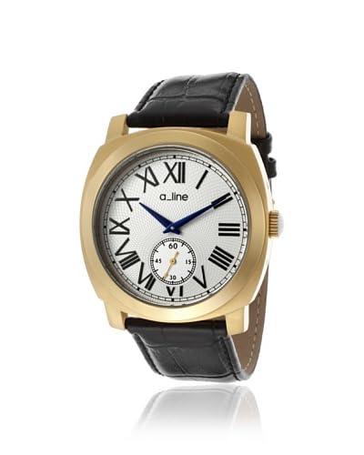 a_line Women's 80023-YG-02-BK Pyar Black/Silver Leather Watch