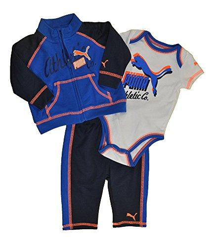 Puma Baby Boys Liquid Blue & Navy Blue 3Pc Sweatsuit Set (3/6M) front-1033739