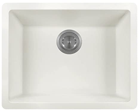 MR Direct 808 White TruGranite Single Bowl Kitchen Sink
