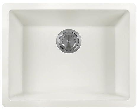 MR Direct 808 White TruGranite Single Bowl Kitchen Sink