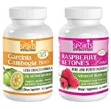 Garcinia Cambogia Extract 1300mg with 60% HCA + Raspberry Ketones Lean 1200mg Advanced Weight Loss Formula with Mango Extract, Resveratol, Acai Fruit, Green Tea Extract (2 Bottles, 2 Supplement Package)