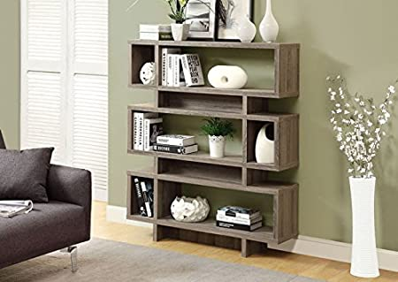 """DARK TAUPE RECLAIMED-LOOK 55""""H MODERN BOOKCASE (SIZE: 47L X 12W X 55H)"""