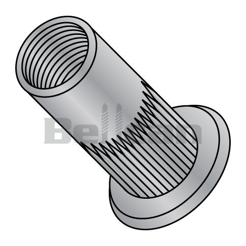 Bellcan BC-XA-14260S Flat Head Ribbed Threaded Insert Rivet Nut Aluminum Cleaned and Polished 1/4-20-.260 (Box of 1000)