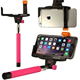 OPTIKAL SelfiePAL Wireless Bluetooth Remote Shutter Stick with Mount Clamp for Various Devices (iPhone 6, 6 Plus, 5, 5S, Note 4, 3, HTC One) - Pink