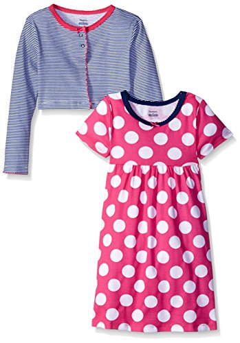 Gerber Toddler Girls Two-Piece Cardigan and Dress Set, Dots, 5T