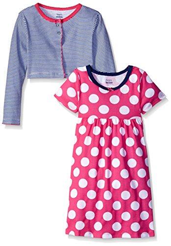 Gerber Toddler Girls Two-Piece Cardigan and Dress Set, Dots, 5T