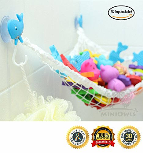 MiniOwls Bathtub Toy Storage Hammock Small - with 3 Blue Whale Suction Cups u0026 FREE Toothbrush Holder - 3% is donated to Autism Foundation.  sc 1 st  Anna Linens & MiniOwls Bathtub Toy Storage Hammock Small - with 3 Blue Whale ...