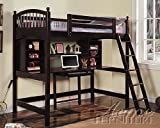 Twin Loft Bed With Underneather Workstation Cappuccino Finish