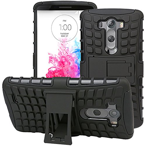 Lg G3 Case, Evecase Offroad Dual Layer Grip Case With Kick-Stand For Lg G3 4G Lte Smartphone - Black