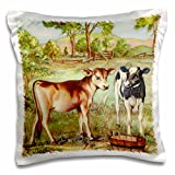 TNMPastPerfect Animals Farm - Two Calves Cartoon - 16x16 inch Pillow Case (pc_183364_1)