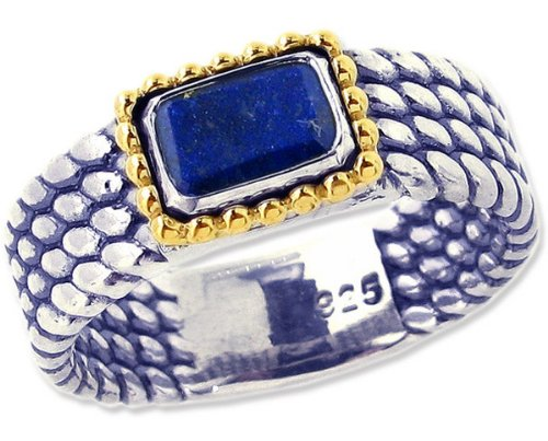 Sterling Silver and 14K Octagon Gemstone Full Bead-Detailed Ring-Lapis Lazuli-in full,half,quarter sizes from 5 to 9_5.25