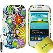 Samsung Galaxy S3 mini GT-I8190 Case Tasche H�lle Etui Schutzh�lle Schutzfolie, Reinigungstuch, Mini Eingabestift AOA CasesTM (Viele Blumen)