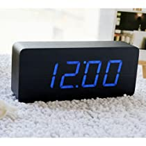 EiioX Fashion Wooden Desk Alarm Clock Blue Digital LED Number Shows Temperature and Date USB POWERED