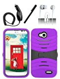 4 Items Combo For LG Optimus L90 (T-Mobile) Purple Hybrid Heavy Duty Armor Rugged Shell Protective UCASE Phone Case Cover with Built in Kickstand and Screen Protector + Car Charger + Free Stylus Pen + Free 3.5mm Stereo Earphone Headsets