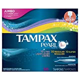 Tampax Pearl Plastic Tampons, Triplepack, Light/Regular/Super Absorbency, Unscented, 50 Count
