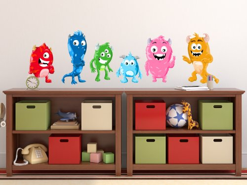 Monsters Fabric Wall Decals, Set Of 6 Cute Monsters, Repositionable And Reusable, 3 Different Sizes