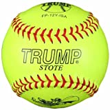 Trump® FP-12-Y-ISA 12 Inch ISA Red Stitch Yellow Leather Softball (Sold in Dozens)