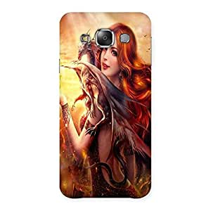 Ajay Enterprises Beautifull Red Girl Back Case Cover for Galaxy E7