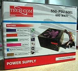 Tech-Com SSD-PSU-6001 (20 + 4) 24 pin Power Supply 600W Watt ATX SMPS Techcom