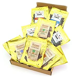 Bricktown Jerky Sampler Gift Basket - Regular Size - 11 - 1.5 oz. Bags of Delicious Jerkey - Beef Jerky, Pork Jerky, Turkey Jerky = Great Gift Idea for any Man!