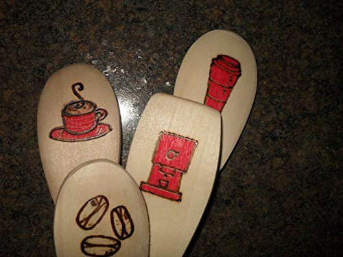 Wood Burned Wooden Decorative Spoon Set, Coffee Decor, Red and Black Coffee Designs, Coffee Cup and Saucer, Coffee To Go Cup, Coffee Beans, Coffee Machine