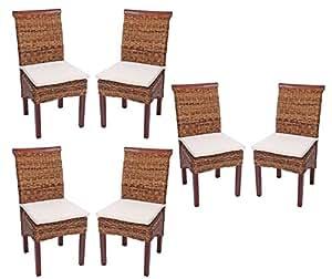 Lot de 6 chaises de salle manger en osier banane tresse for Chaises en osier tresse