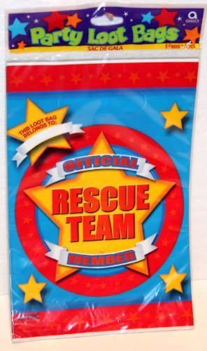 Rare! Rescue Team Birthday Party Supply 8 Count Party Loot Bags By Amscan