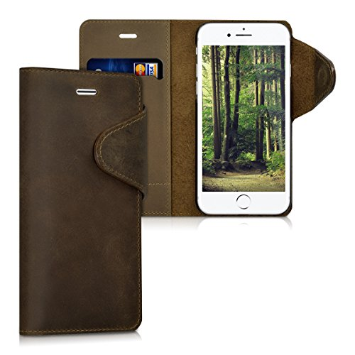 kalibri-Echtleder-Wallet-Hlle-fr-Apple-iPhone-7-Case-mit-Fach-und-Stnder-in-Braun