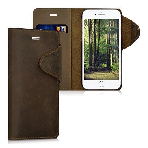 kalibri-Echtleder-Wallet-Hlle-fr-Apple-iPhone-7-Case-mit-Fach-und-Stnder-in-Braun