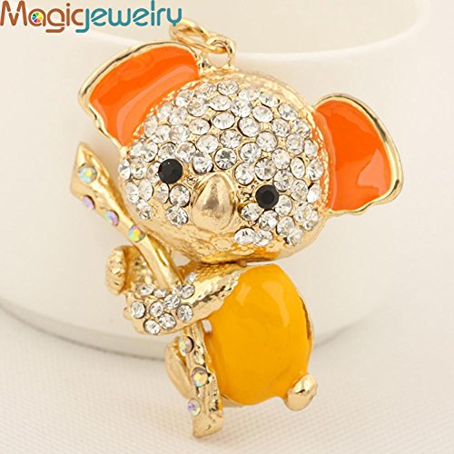 New Rhinestone Stick Sloth Keychain Keyring Fashion Enamel Animal Metal Key Chain for Women Bag Purse Charm Pendant Accessories