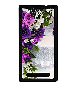 Cake and Flowers 2D Hard Polycarbonate Designer Back Case Cover for Sony Xperia C3 Dual :: Sony Xperia C3 Dual D2502