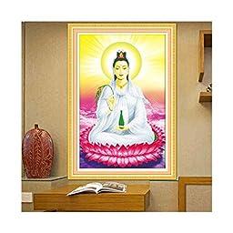 5D Diamond Painting Avalokitesvara Statue Avalokitesvara Sit on Lotus Cross Stitch Living Room Full-jewelled Diamond Stitch Round Diamond Figure of Buddha