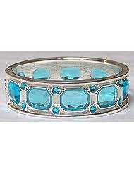 Blue Stone Studded Hinged Bracelet - Metal