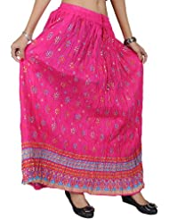 Exotic India Crushed Elastic Boho Skirt With Printed Flowers