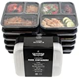 [10-Pack] Premium 3-Compartment Stackable Meal Prep Containers With Lids ? Microwave, Dishwasher Safe And Reusable...