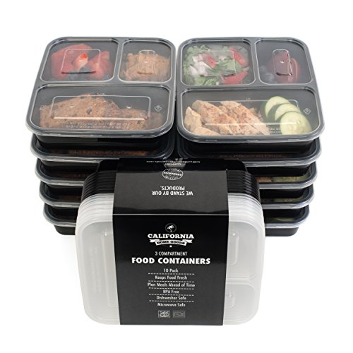 California Home Goods 3 Compartment Reusable Food Storage Containers with Lids, Microwave and Dishwasher Safe, Bento Lunch Box, Stackable, Set of 10 (Food Trays compare prices)