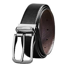Savile Row Men\'s Top Grain Leather Belt Fashion Design Reversible Buckle (38)