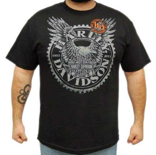 Harley-Davidson Mens 110th Anniversary Horizon Black Short Sleeve T-Shirt (2X-Large)