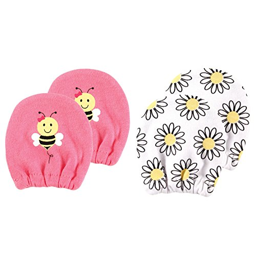 Luvable Friends Basic Scratch Mittens 2-Pack, Bee