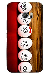 Omnam Different Eggs With Smileys Printed Back Cover Case For HTC10