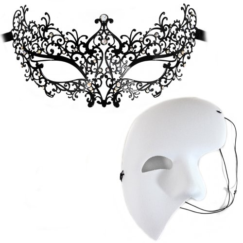 Odette-White Mystery - Masquerade Masks for a Couple
