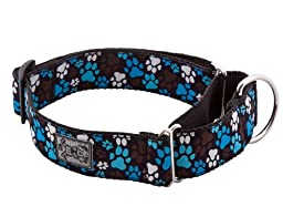 RC Pet Products 1-1/2-Inch All Webbing Martingale Dog Collar, Large, Pitter Patter Chocolate