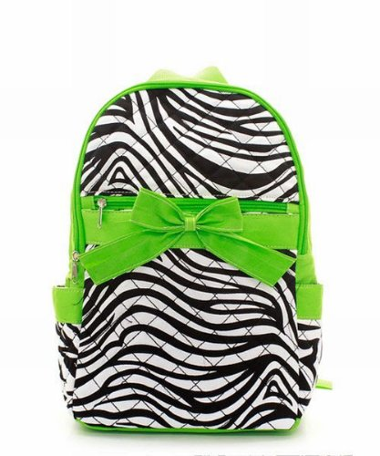 Zebra Lime Green Quilted Backpack
