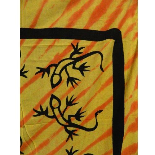 Colcha Lagartija amarillo naranja 240x205cm Algodón Cortina